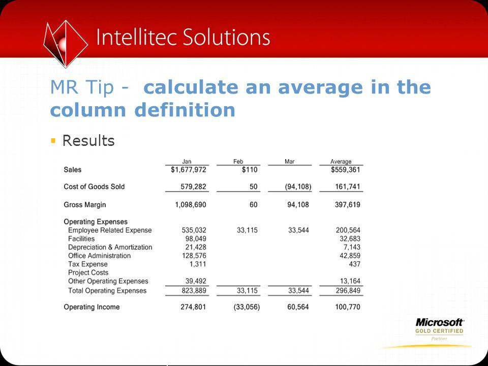 MR Tip - calculate an average in the column definition  Results