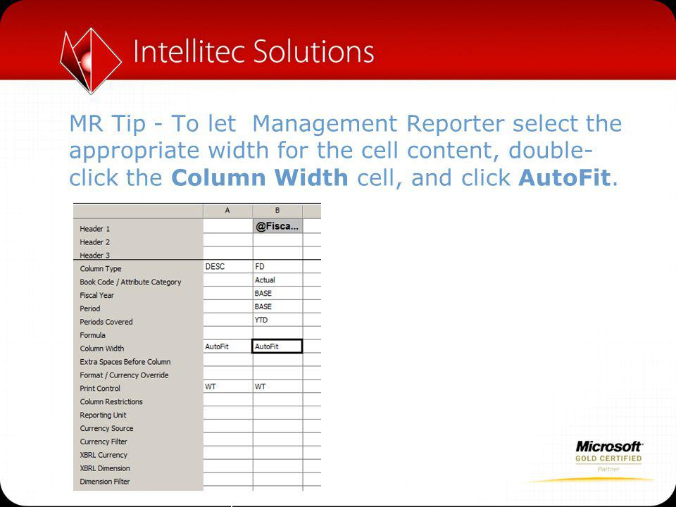 MR Tip - To let Management Reporter select the appropriate width for the cell content, double- click the Column Width cell, and click AutoFit.