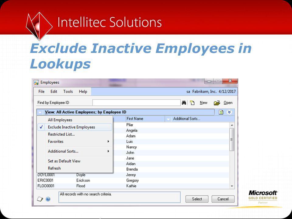 Exclude Inactive Employees in Lookups