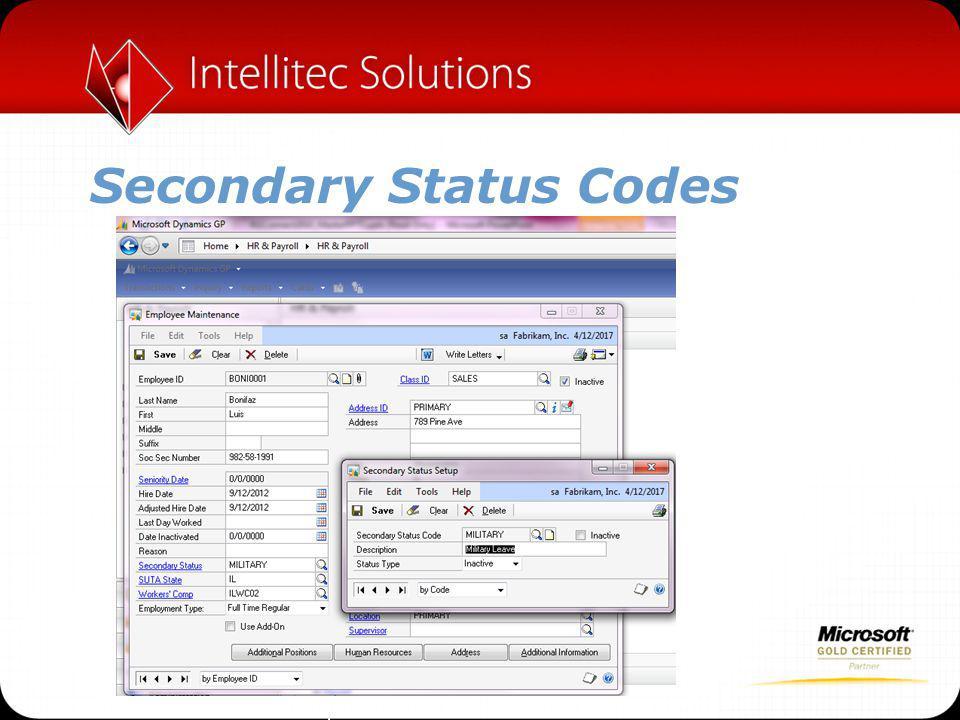 Secondary Status Codes