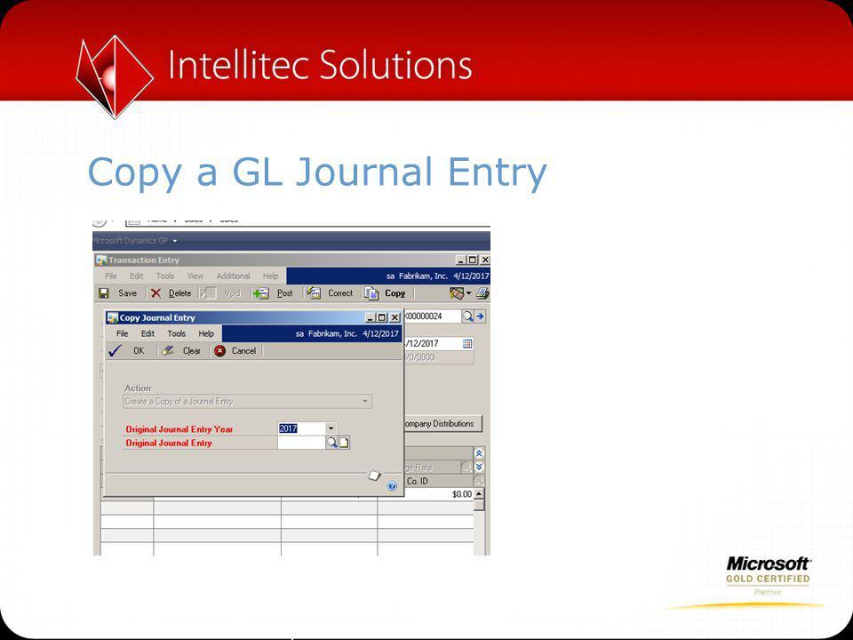 Copy a GL Journal Entry