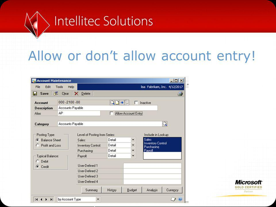 Allow or don't allow account entry!