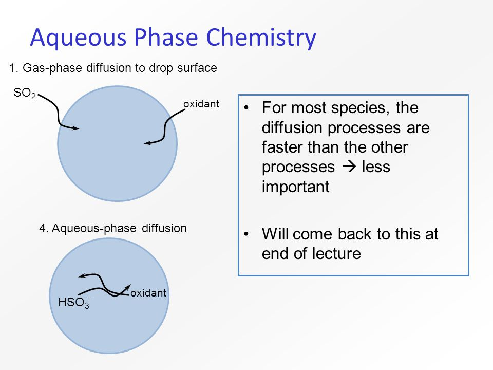 Aqueous Phase Chemistry For most species, the diffusion processes are faster than the other processes  less important Will come back to this at end of lecture 1.