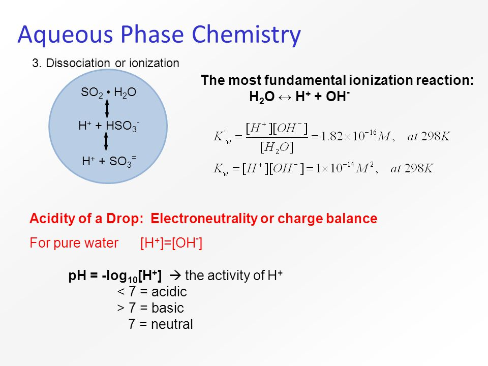 Aqueous Phase Chemistry SO 2 H 2 O H + + HSO 3 - H + + SO 3 = 3.