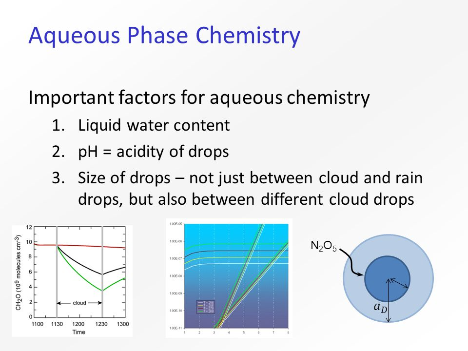 Aqueous Phase Chemistry Important factors for aqueous chemistry 1.Liquid water content 2.pH = acidity of drops 3.Size of drops – not just between cloud and rain drops, but also between different cloud drops N2O5N2O5