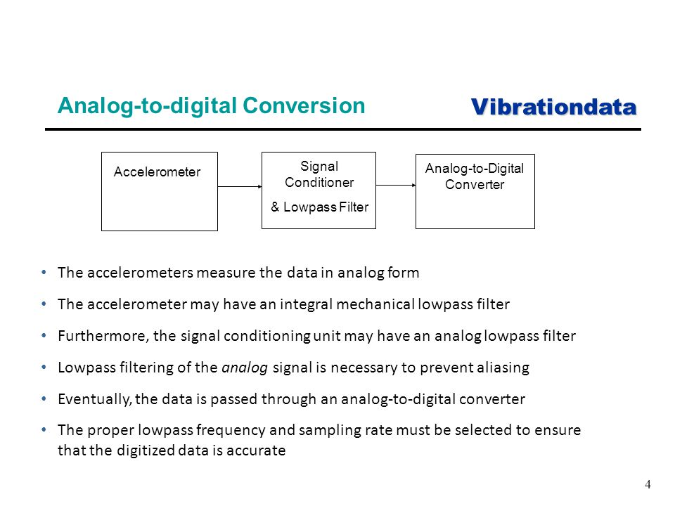Vibrationdata 4 Analog-to-digital Conversion The accelerometers measure the data in analog form The accelerometer may have an integral mechanical lowpass filter Furthermore, the signal conditioning unit may have an analog lowpass filter Lowpass filtering of the analog signal is necessary to prevent aliasing Eventually, the data is passed through an analog-to-digital converter The proper lowpass frequency and sampling rate must be selected to ensure that the digitized data is accurate Accelerometer Signal Conditioner & Lowpass Filter Analog-to-Digital Converter