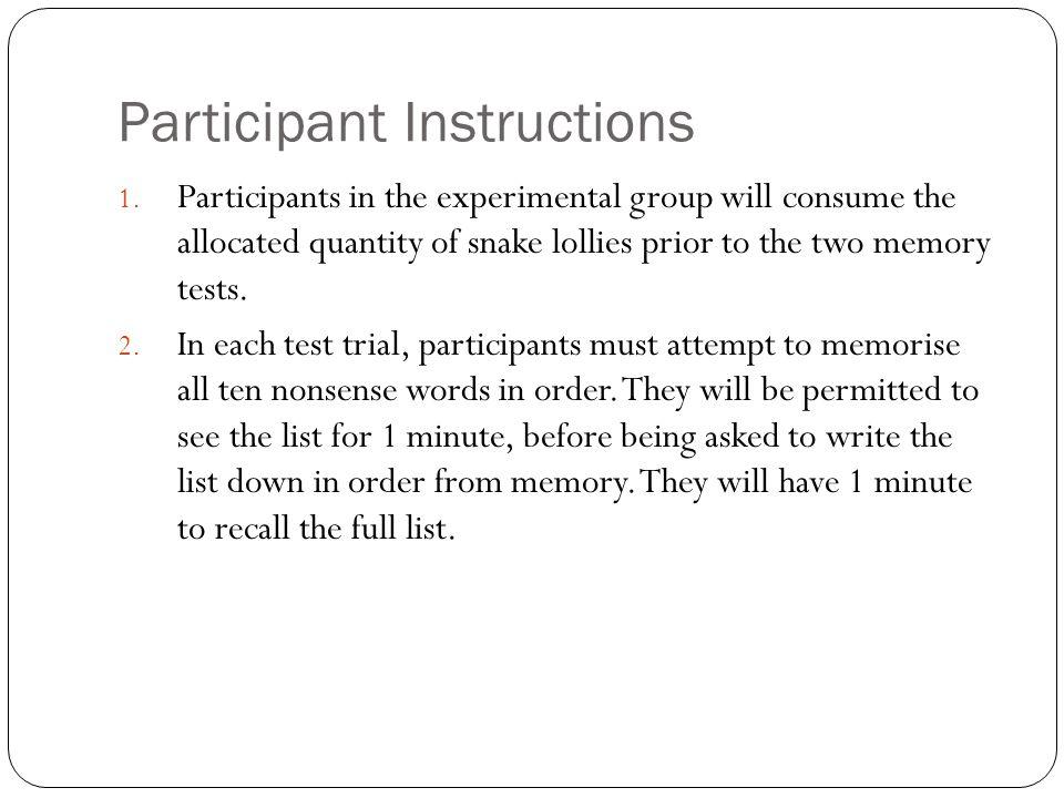 Participant Instructions 1.