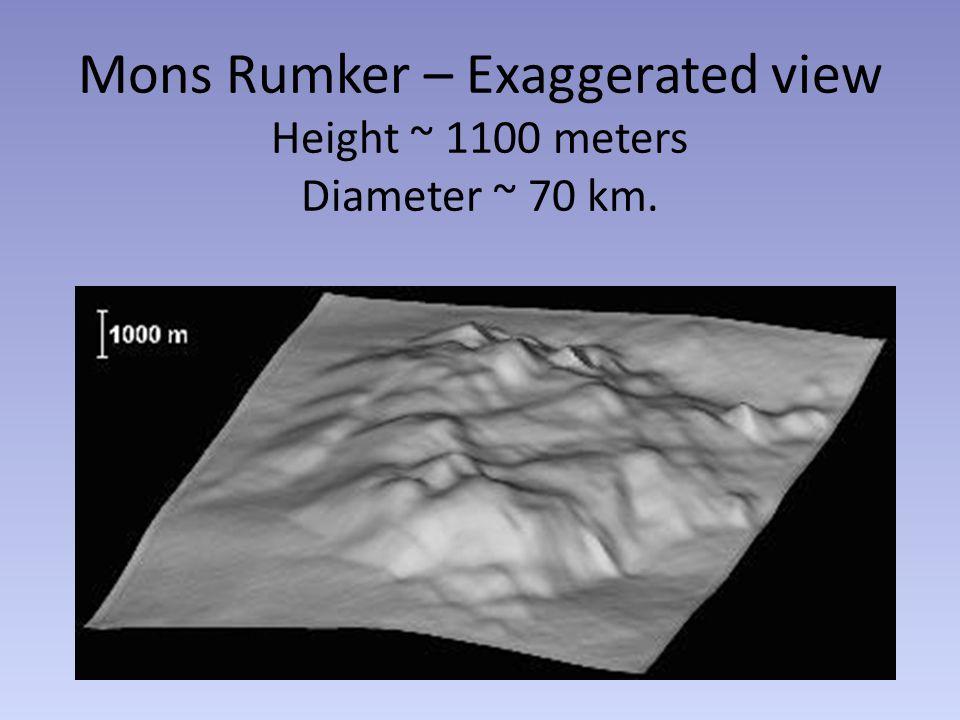 Mons Rumker – Exaggerated view Height ~ 1100 meters Diameter ~ 70 km.
