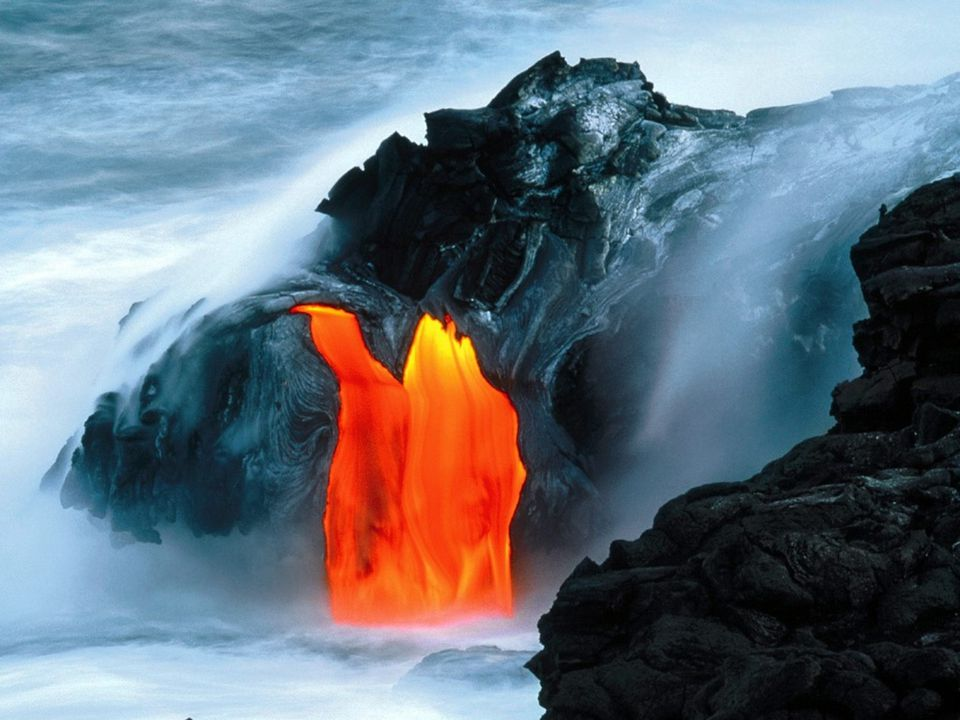 The lava from the Hawaiian volcanoes is very low in silica and it flows easily across the surface, all the way to the ocean.