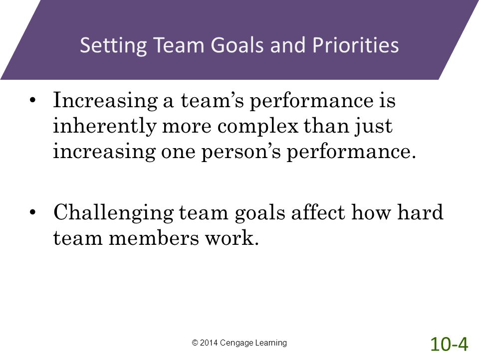 Setting Team Goals and Priorities Increasing a team's performance is inherently more complex than just increasing one person's performance. Challengin