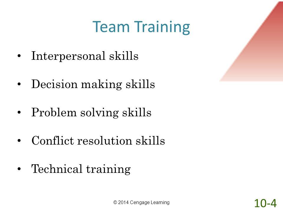Team Training Interpersonal skills Decision making skills Problem solving skills Conflict resolution skills Technical training © 2014 Cengage Learning