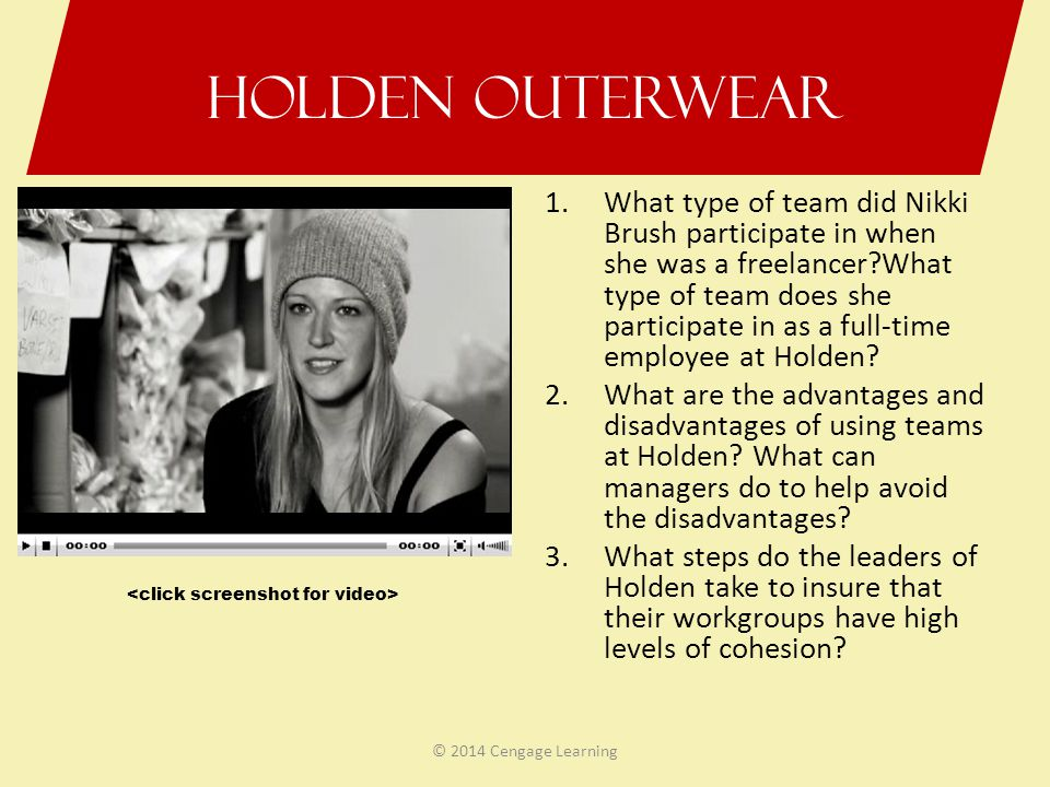 Holden Outerwear 1.What type of team did Nikki Brush participate in when she was a freelancer?What type of team does she participate in as a full-time
