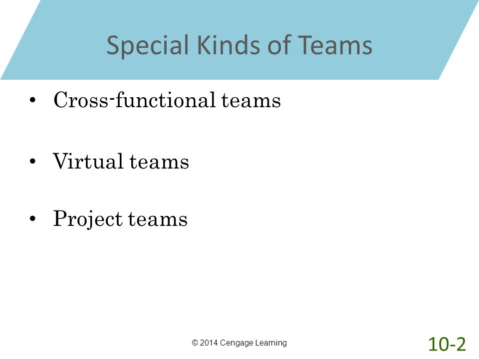 Special Kinds of Teams Cross-functional teams Virtual teams Project teams © 2014 Cengage Learning 10-2