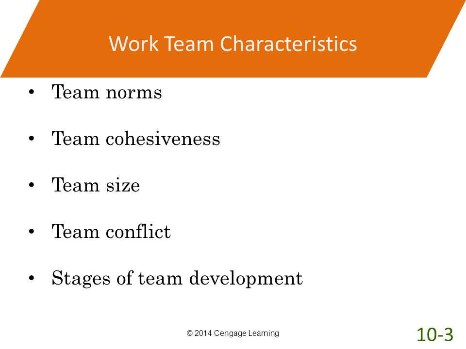 Work Team Characteristics Team norms Team cohesiveness Team size Team conflict Stages of team development © 2014 Cengage Learning 10-3