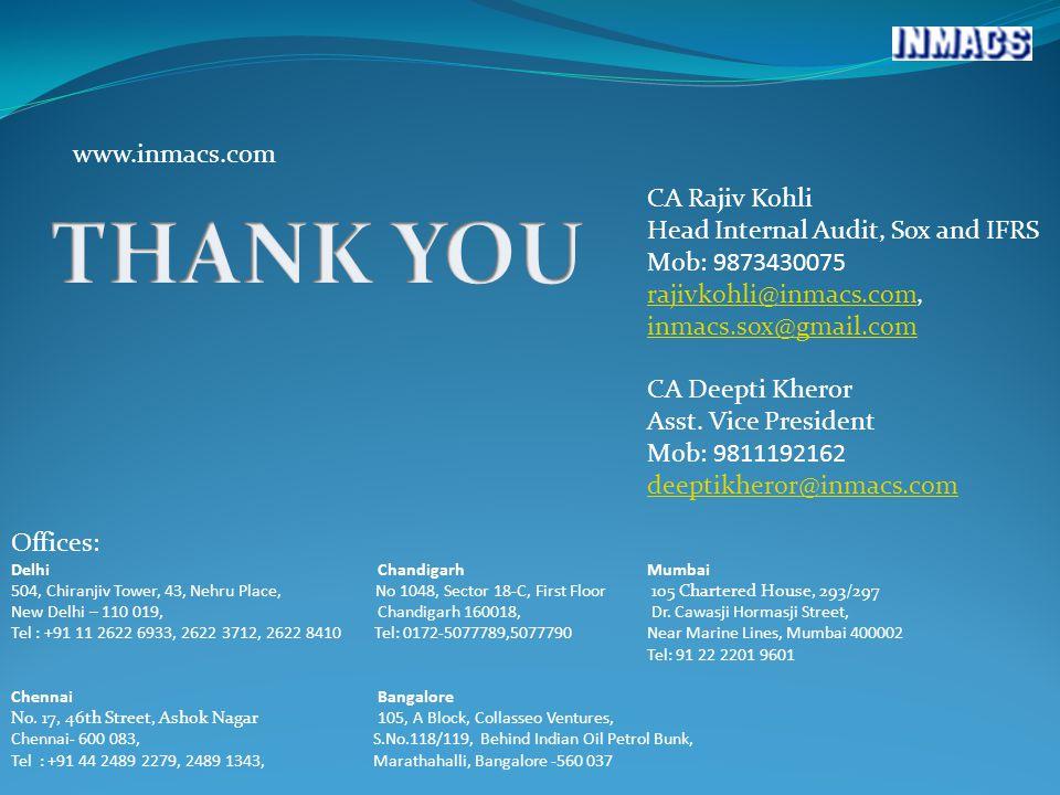 www.inmacs.com CA Rajiv Kohli Head Internal Audit, Sox and IFRS Mob: 9873430075 rajivkohli@inmacs.comrajivkohli@inmacs.com, inmacs.sox@gmail.com inmacs.sox@gmail.com CA Deepti Kheror Asst.
