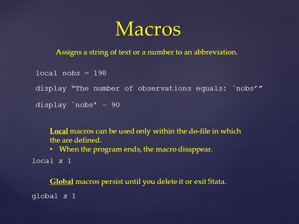 Macros Assigns a string of text or a number to an abbreviation.