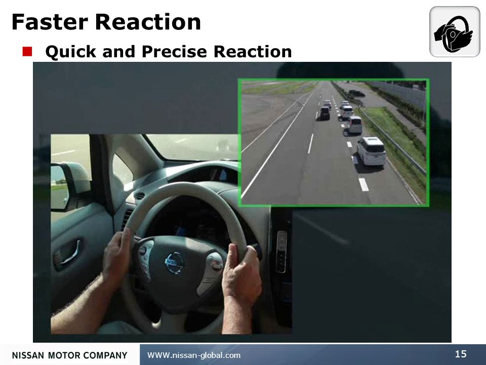 WWW.nissan-global.com 15 Faster Reaction Quick and Precise Reaction