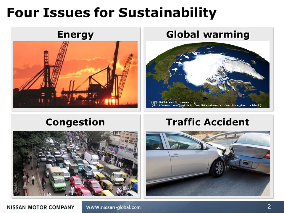 WWW.nissan-global.com 2 Four Issues for Sustainability Energy Global warming Congestion Traffic Accident