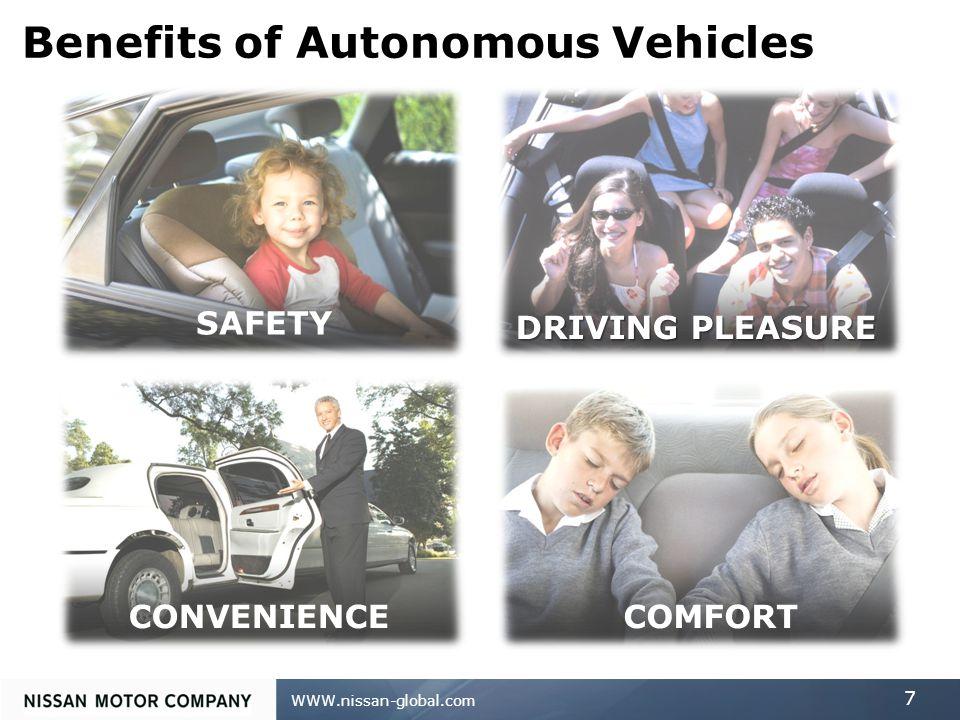 WWW.nissan-global.com 7 Benefits of Autonomous Vehicles SAFETY DRIVING PLEASURE CONVENIENCECOMFORT