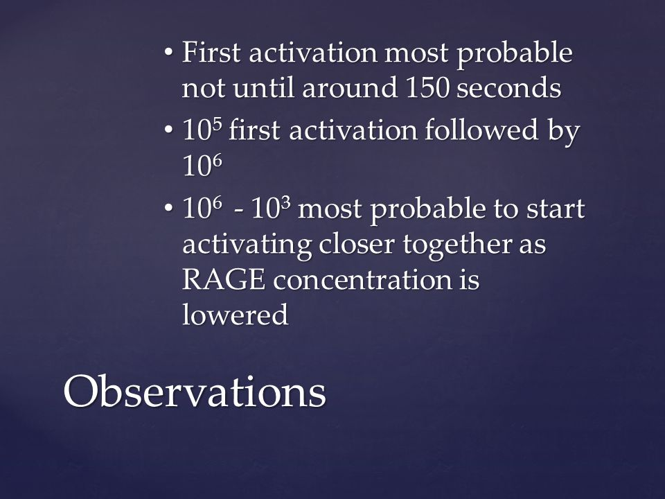First activation most probable not until around 150 seconds First activation most probable not until around 150 seconds 10 5 first activation followed by 10 6 10 5 first activation followed by 10 6 10 6 - 10 3 most probable to start activating closer together as RAGE concentration is lowered 10 6 - 10 3 most probable to start activating closer together as RAGE concentration is lowered Observations