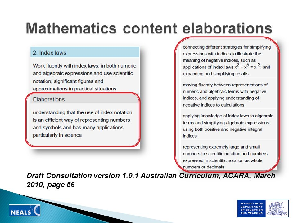 Draft Consultation version 1.0.1 Australian Curriculum, ACARA, March 2010, page 56