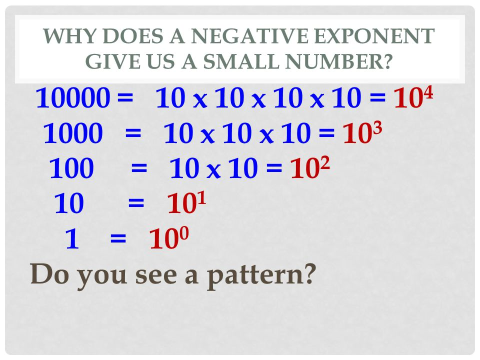 WHY DOES A NEGATIVE EXPONENT GIVE US A SMALL NUMBER? 10000 = 10 x 10 x 10 x 10 = 10 4 1000 = 10 x 10 x 10 = 10 3 100 = 10 x 10 = 10 2 10 = 10 1 1 = 10