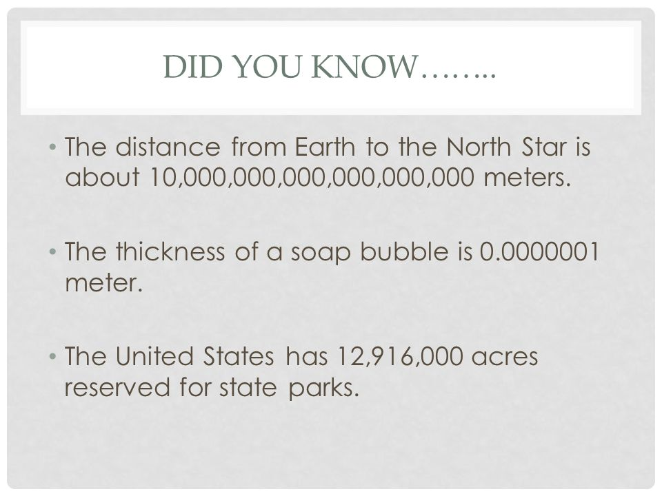 DID YOU KNOW……..