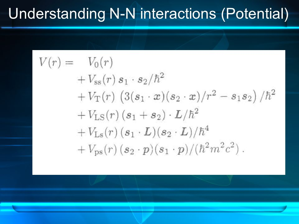 Understanding N-N interactions (Potential)
