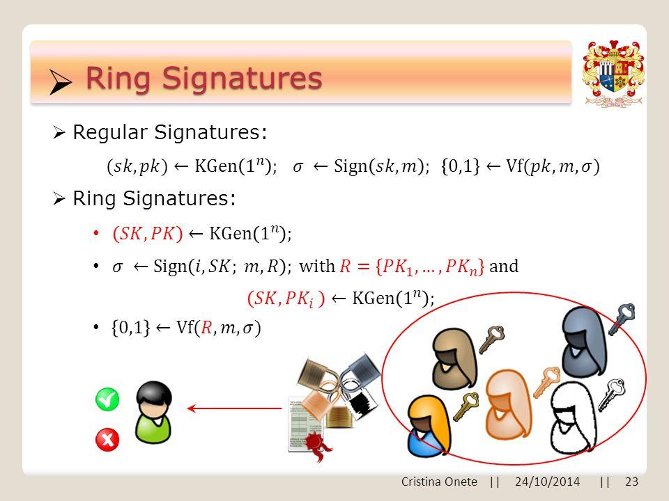  Ring Signatures  Ring Signatures:  Regular Signatures: Cristina Onete || 24/10/2014 || 23