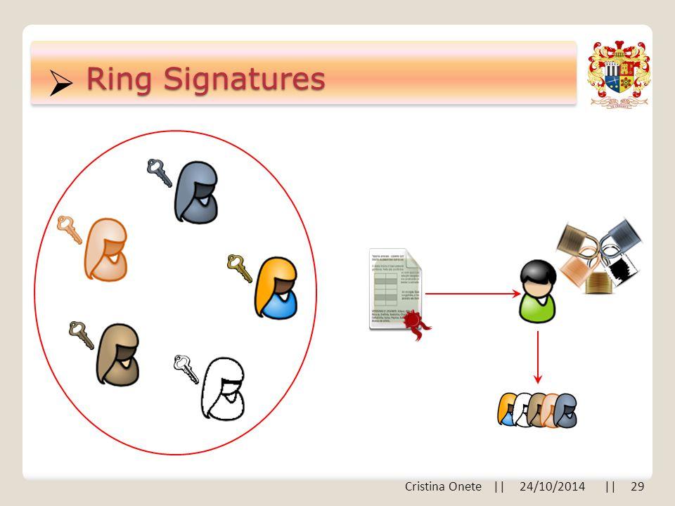  Ring Signatures Cristina Onete || 24/10/2014 || 29