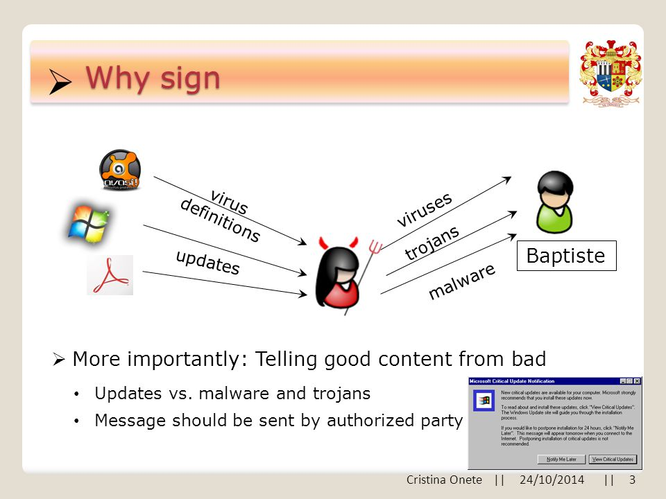  Why sign  More importantly: Telling good content from bad updates virus definitions Baptiste malware trojans viruses Updates vs.