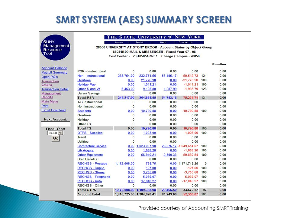 Provided courtesy of Accounting SMRT Training SMRT SYSTEM (AES) SUMMARY SCREEN