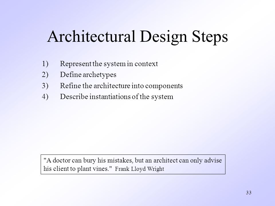 33 Architectural Design Steps 1)Represent the system in context 2)Define archetypes 3)Refine the architecture into components 4)Describe instantiations of the system A doctor can bury his mistakes, but an architect can only advise his client to plant vines. Frank Lloyd Wright