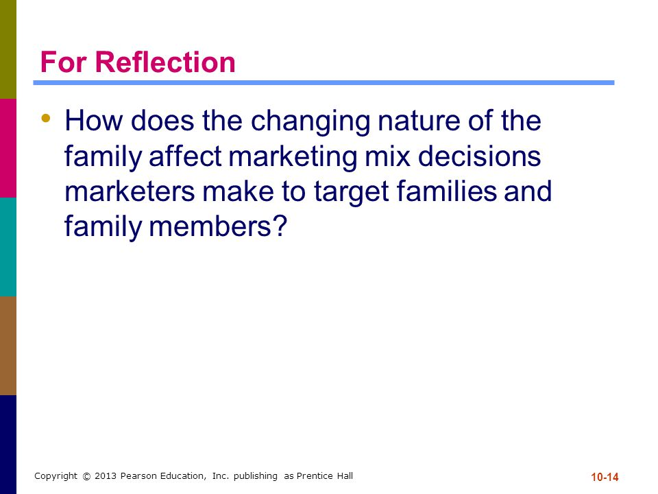 For Reflection How does the changing nature of the family affect marketing mix decisions marketers make to target families and family members? 10-14 C