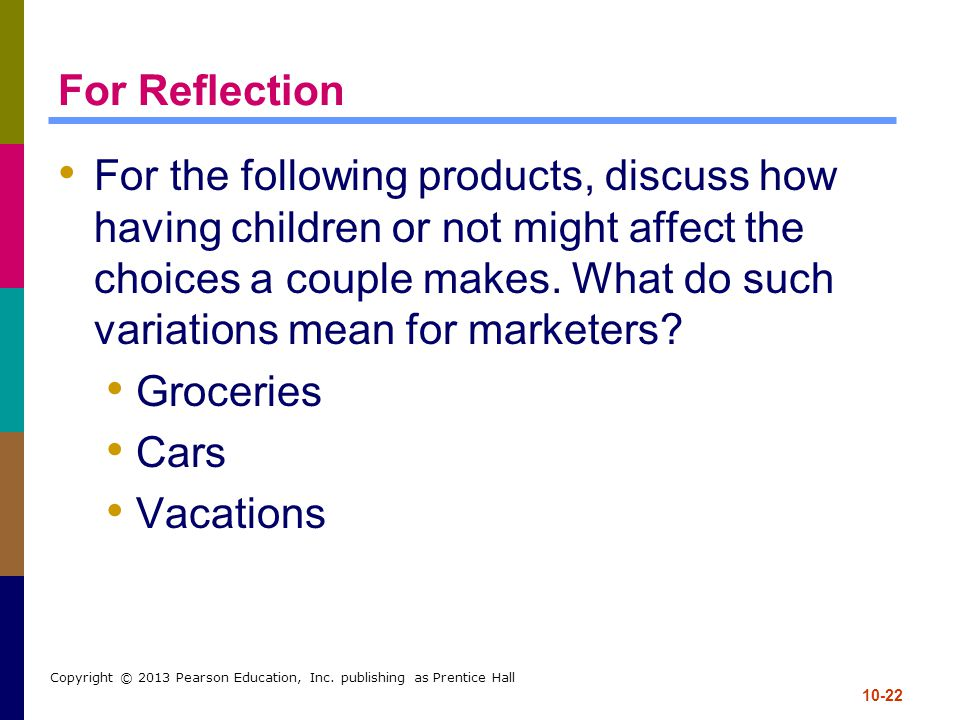 10-22 Copyright © 2013 Pearson Education, Inc. publishing as Prentice Hall For Reflection For the following products, discuss how having children or n