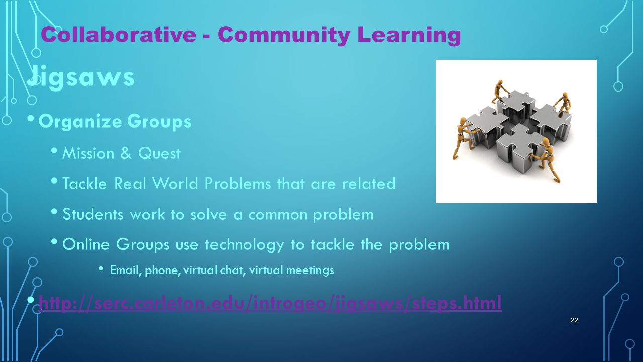 CLASS ACTIVITIES Think, pair, share Questioning Collaboration Techniques of Active Learning 21