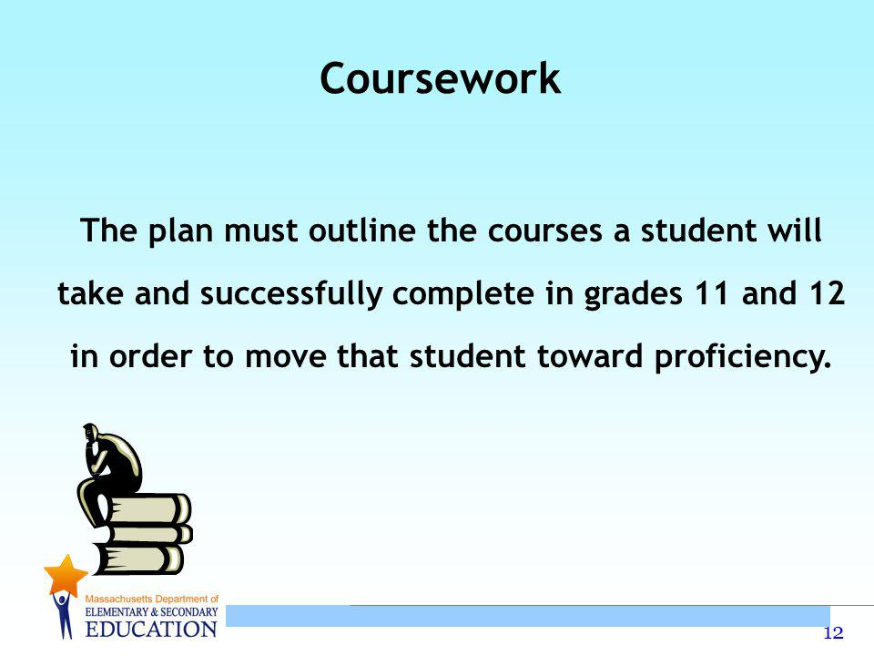 12 The plan must outline the courses a student will take and successfully complete in grades 11 and 12 in order to move that student toward proficiency.