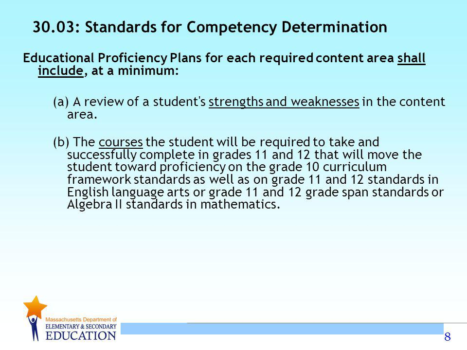8 30.03: Standards for Competency Determination Educational Proficiency Plans for each required content area shall include, at a minimum: (a) A review of a student s strengths and weaknesses in the content area.