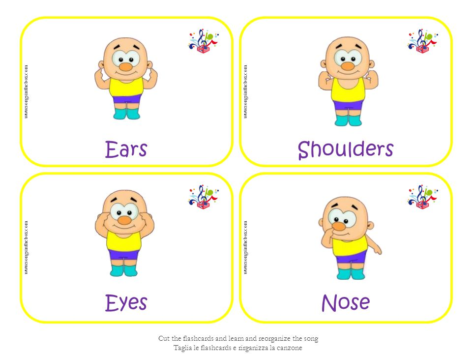 NoseEyes ShouldersEars www.songsinthebox.com Cut the flashcards and learn and reorganize the song Taglia le flashcards e rirganizza la canzone