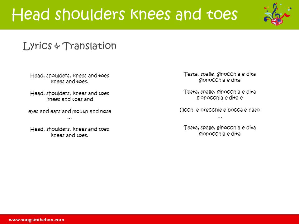 www.songsinthebox.com Head shoulders knees and toes