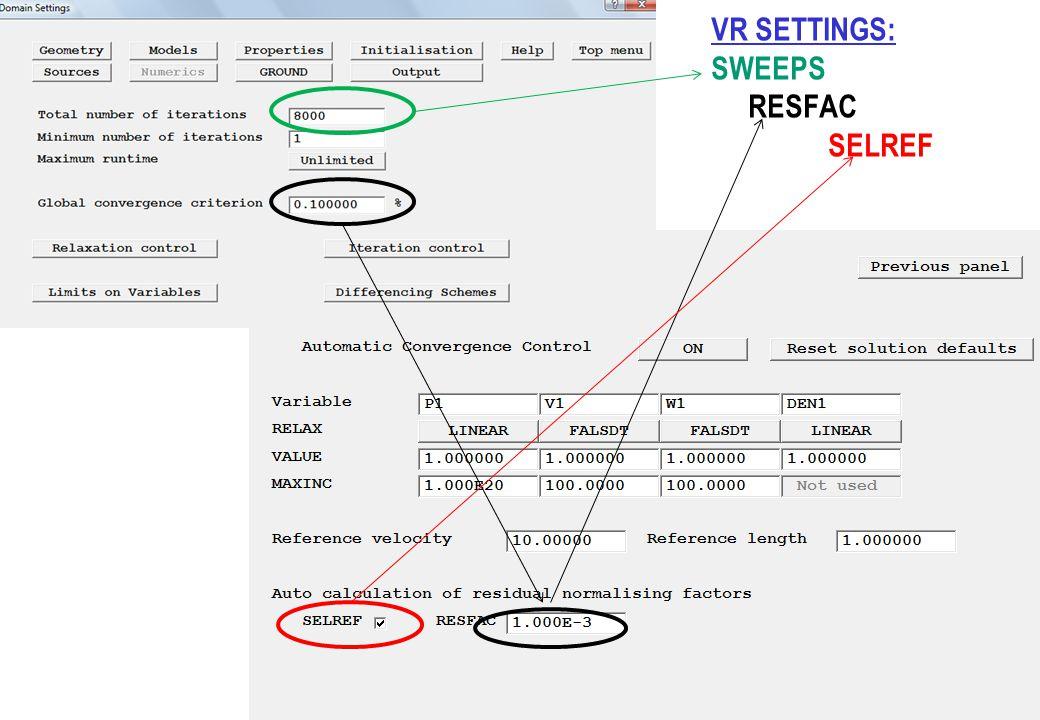 VR SETTINGS: SWEEPS RESFAC SELREF