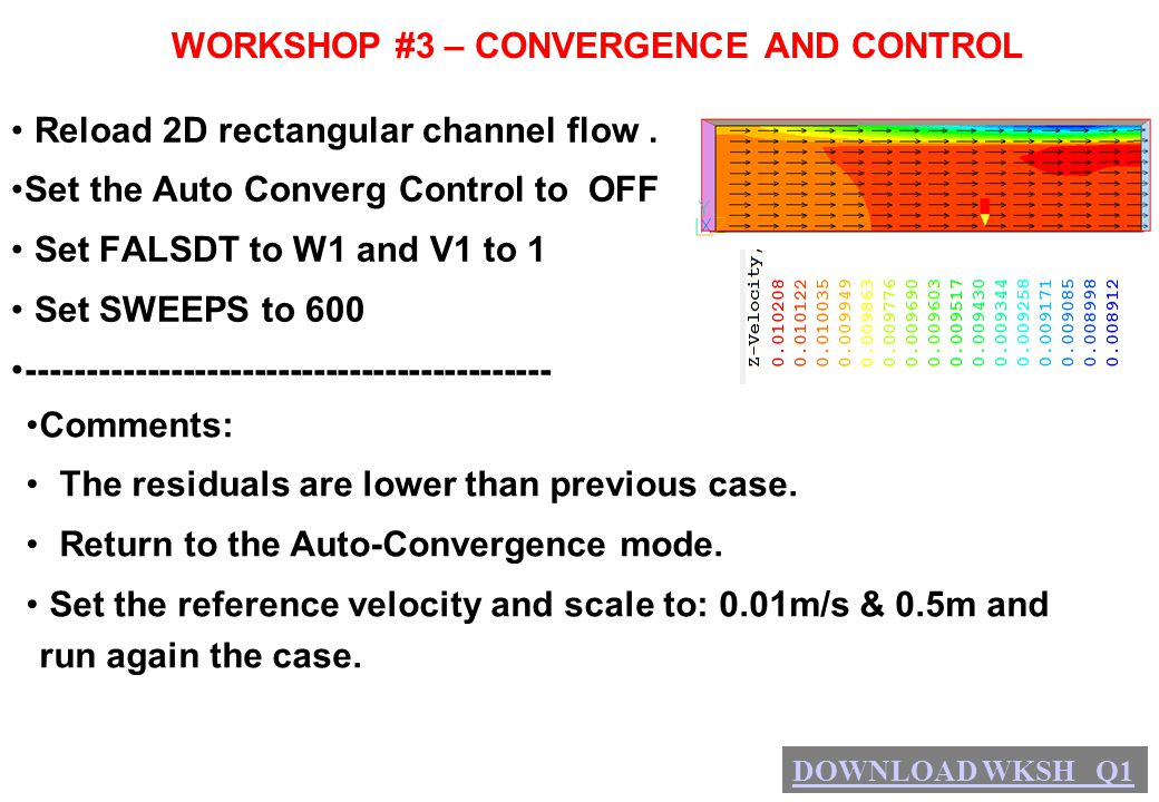 WORKSHOP #3 – CONVERGENCE AND CONTROL Reload 2D rectangular channel flow. Set the Auto Converg Control to OFF Set FALSDT to W1 and V1 to 1 Set SWEEPS