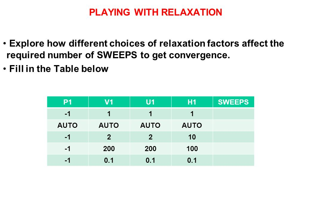 PLAYING WITH RELAXATION Explore how different choices of relaxation factors affect the required number of SWEEPS to get convergence. Fill in the Table