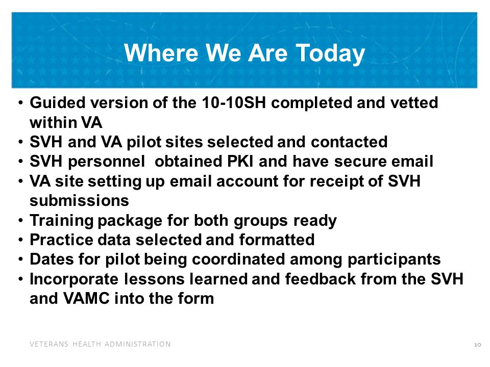 VETERANS HEALTH ADMINISTRATION Where We Are Today Guided version of the 10-10SH completed and vetted within VA SVH and VA pilot sites selected and con