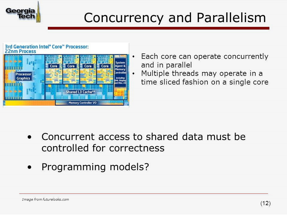 (12) Concurrency and Parallelism Concurrent access to shared data must be controlled for correctness Programming models.