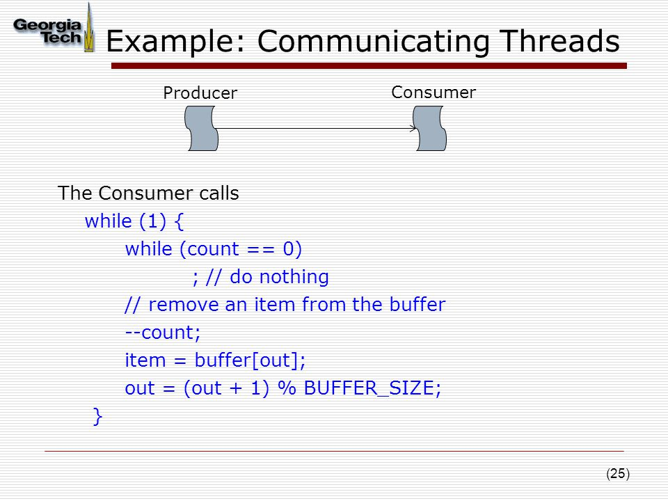 (25) Example: Communicating Threads Consumer The Consumer calls while (1) { while (count == 0) ; // do nothing // remove an item from the buffer --count; item = buffer[out]; out = (out + 1) % BUFFER_SIZE; } Producer Consumer