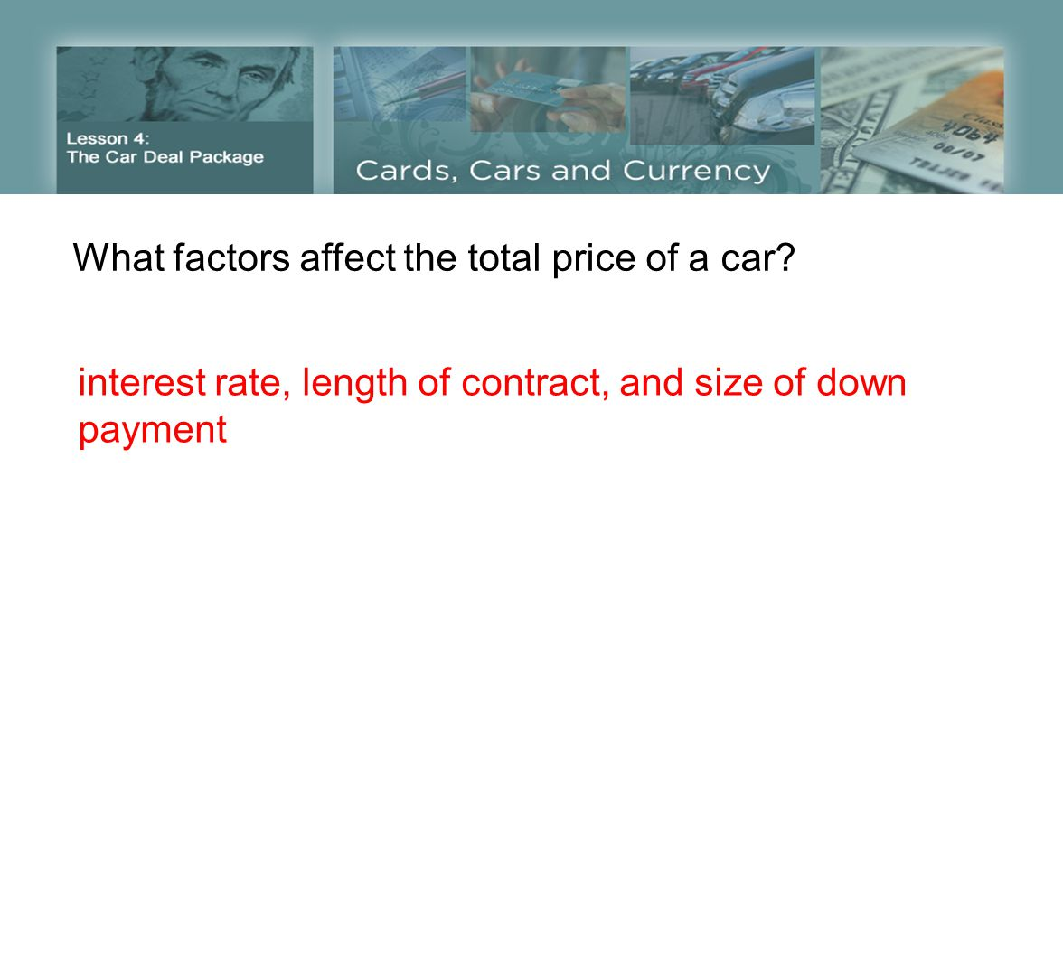 What factors affect the total price of a car.