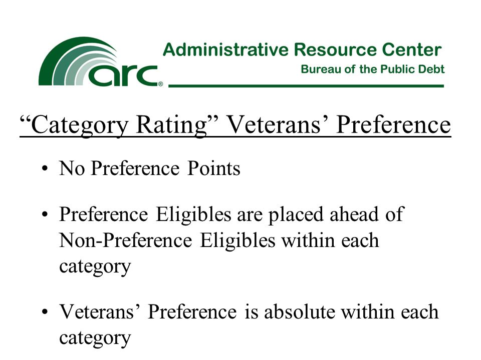 """Category Rating"" Veterans' Preference No Preference Points Preference Eligibles are placed ahead of Non-Preference Eligibles within each category Vet"