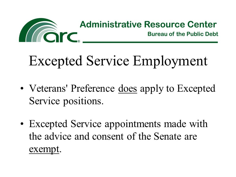 Excepted Service Employment Veterans' Preference does apply to Excepted Service positions. Excepted Service appointments made with the advice and cons