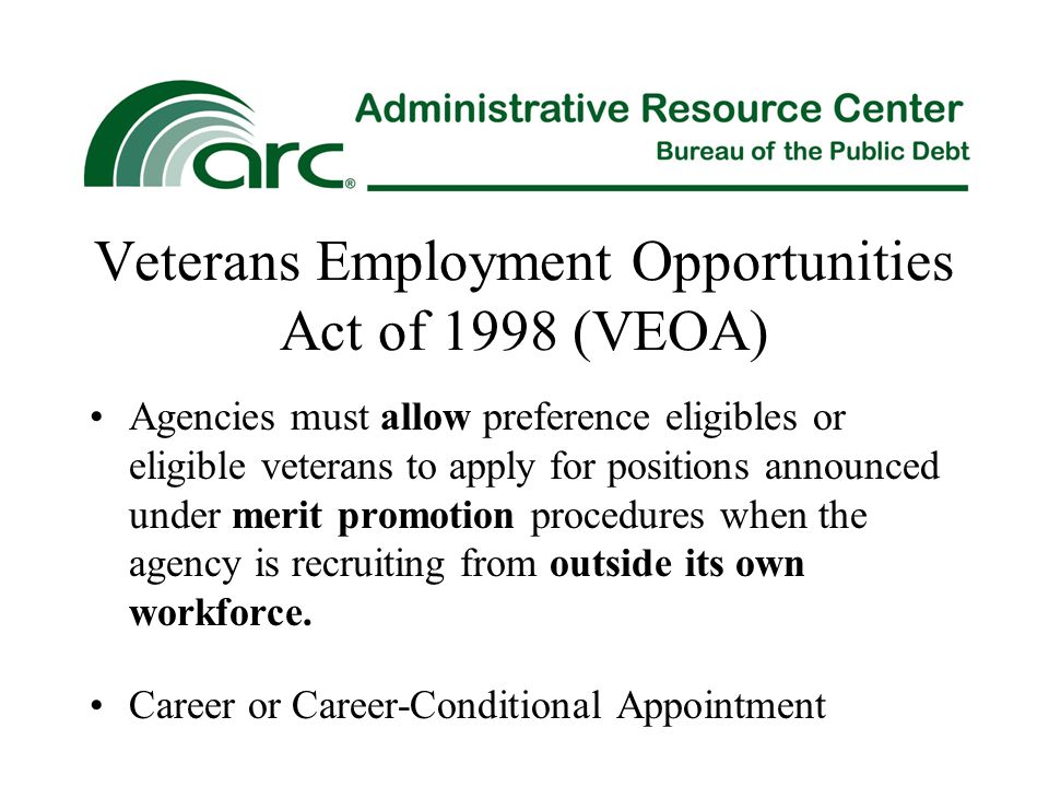 Veterans Employment Opportunities Act of 1998 (VEOA) Agencies must allow preference eligibles or eligible veterans to apply for positions announced un